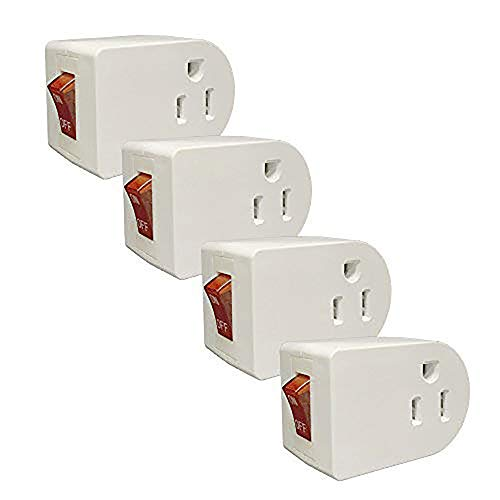 Oviitech Grounded Outlet Wall Tap Adapter with Red Indicator On/Off Power Switch (4 Pack)