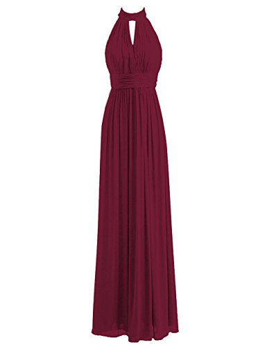 Bridesmaid Dresses Halter Prom Dress Long Chiffon Evening Gowns Pleat Wedding Party Dresses Burgundy 3X (Apparel)