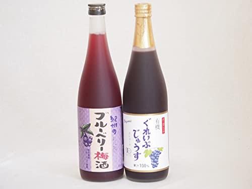 ぶどう果汁100%ジュースと果物ワイン2本セット(有機コンコードぶどう果汁100% 岩手県産ブルーベリー梅酒) 710ml×1本 720ml×1本