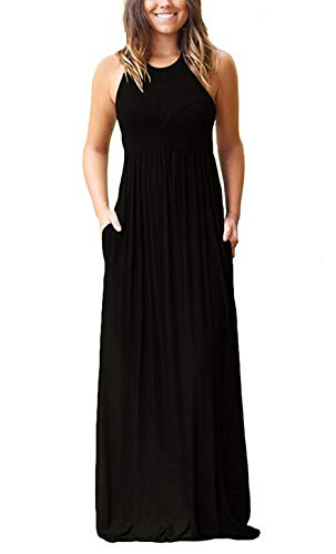 PCEAIIH Women's Casual Sleeveless Maxi Dress Loose Long Dresses with Pockets(B-L-Black)