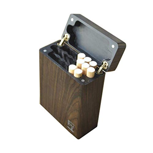 BXU-BG Cigarrillos tirón de la caja, 20 juegos de cigarrillos normales, perforado fila de cigarrillos portátil sólido caso de cigarrillos ultra-delgada de madera entera de madera huecas de gran especi