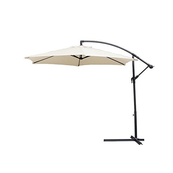 wolketon Alu Ampelschirm mit Kurbelvorrichtung UV-Schutz 30+ Wasserabweisende Bespannung - Sonnenschirm Schirm…