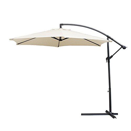 wolketon Ø 350cm Alu Ampelschirm mit Kurbelvorrichtung Sonnenschirm Gartenschirm Kurbelschirm UV 30+ Schirm Marktschirm