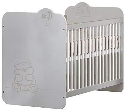 habeig Babybett Bärchen mit Lattenrost 60x120cm Kleinkindbett Kinderbett Bett verstellbar aus Echtholz