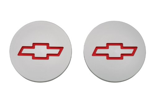 Proform 141-233 Plain Billet Aluminum Freeze Plug Insert with Recessed Red Chevy Bowtie Logo for Small Block Chevy - Pair