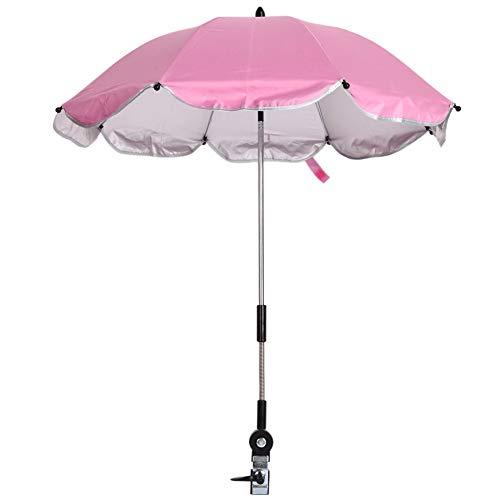 MaoDaAiMaoYi Buggy Parasol Parasol Parasol Parasol voor wandelwagen Buggy Pushchair Rolstoel Fiets Parasol Anti Mode Living Uv Straling Zon 360 Graden Verstelbare Richting Paraplu Roze
