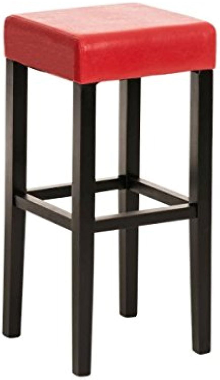 Barhocker, Barstuhl, Thekenstuhl, Bar, Holz, Kunstleder schwarz rot