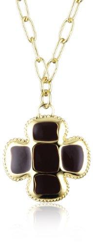 Collana JustCavalli in acciaio dorato con croce nere pendente scaf01
