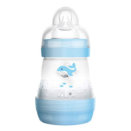 MAM Easy Start Anti-Colic Bottle 5 oz (1-Count), Baby Essentials, Slow Flow Bottles with Silicone Nipple, Baby Bottles for Baby Boy, Blue