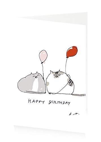 ArtPress - Biglietto Di Auguri Di Buon Compleanno Di Jamie Shelman Con Palloncino Gatti, 12 X 17 Cm