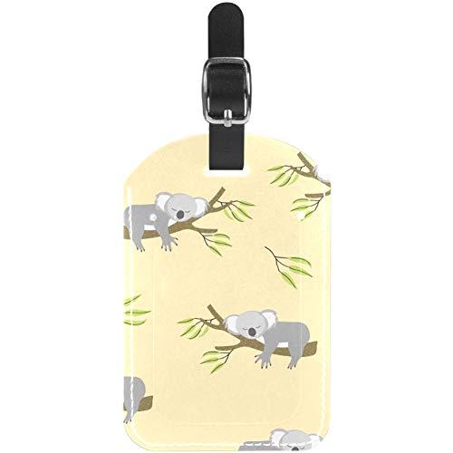 Luggage Tags Cute Sleeping Koala Leather Travel Suitcase Labels 1 Packs