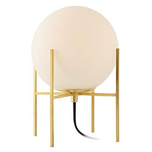 Lámpara Escritorio Lámpara de mesa redonda, lámpara de mesa decorativa con estilo, base de metal / madera, pantalla de vidrio redonda, adecuada for el dormitorio / sala de estar / comedor Lamparilla d