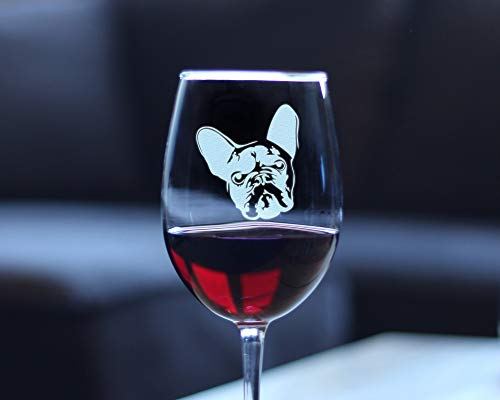 French Bulldog Wine Glass with Stem Engraved Glasses Cute Gifts for Dog Lovers with Frenchies French Bulldog Owner Gift,11oz