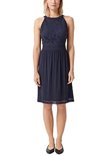 s.Oliver RED Label Damen Schulterfreies Kleid mit Spitze Navy 44