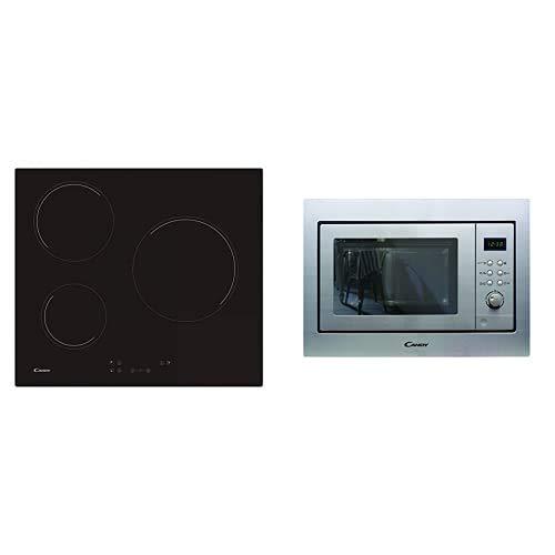 Candy CH63CC Encimera vitrocerámica 3 zonas de cocción, ancho 60 cm, 10 niveles potencia, 5.5 W, Negro + MIC201EX - Microondas integrable con grill y marco, Potencia 800W-1000W