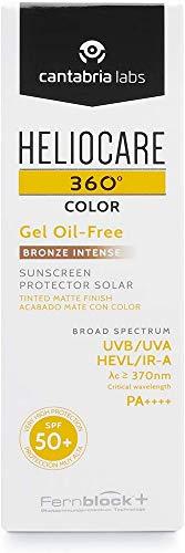 Heliocare 360º Color Gel Oil-Free SPF 50+ - Fotoprotección Avanzada con Color, Textura Ligera Pieles Mixtas o Grasas, Acabado Mate y Tacto Seco, Bronze Intense, 50ml