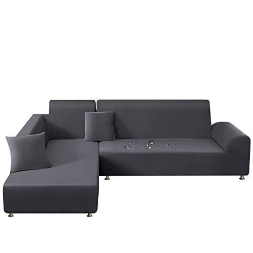 TAOCOCO Fundas de sofá elásticas resistentes al agua para sofá en forma de L, juego de 2 unidades con 2 fundas de almohada (3 plazas + 3 plazas, gris)