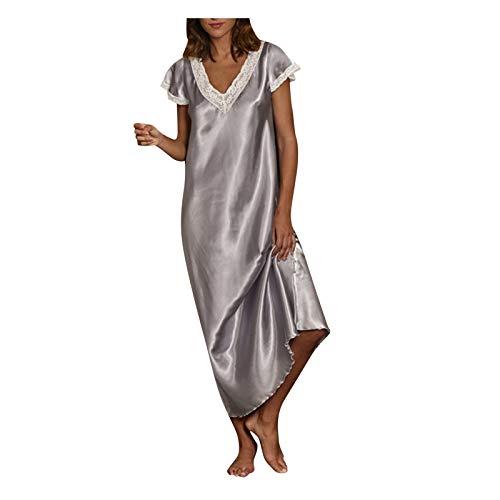 Writtian Camisón Mujer Verano Talla Grande de Camisones de Mujer Manga Corta Cuello en V Pijama Satén,Camisones para Mujer de Camiseta Ropa de Dormir Verano Cómodo