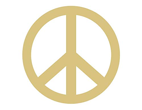 Peace Sign Cutout Unfinished Wood Hippie 60's Door Hanger MDF Shaped Canvas Style 1