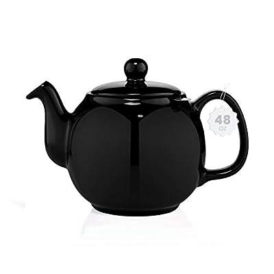 SAKI Large Porcelain Teapot, 48 Ounce Tea Pot with Infuser, Loose Leaf and Blooming Tea Pot - Black