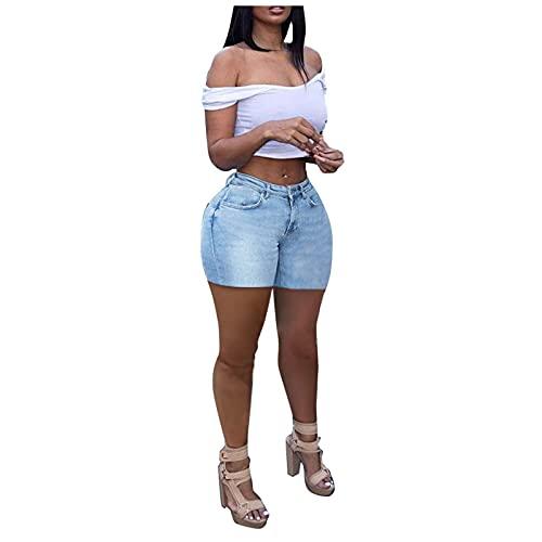 Mujeres de Moda Short Vaquero Elástico Multicolorful con Cordón Skinny Pantalones Sexy Mallas Pantalones Cortos Vaqueros Colombianos Mujer Levanta Cola Vaqueros Mujer Push Up