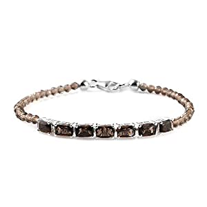 925 Sterling Silver Platinum Plated Smoky Quartz Tennis Bracelet