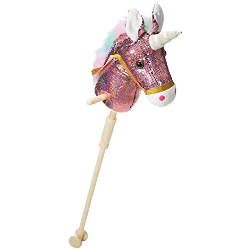 HollyHOME Sequin Unicorn Stick Horse with Wood Wheels Real Pony Neighing and Galloping Sounds Plush Unicorn Toy Pink 36 Inches(AA Batteries Required)