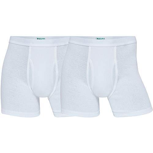 jbs Boxershorts Herren (2er Pack) hochwertige atmungsaktive Sportswear Unterhosen, hohe Belastbarkeit und Langlebigkeit durch extra Lange Baumwollfasern, Ganzjährig (Ohne Kratzenden Zettel), Weiß, XL