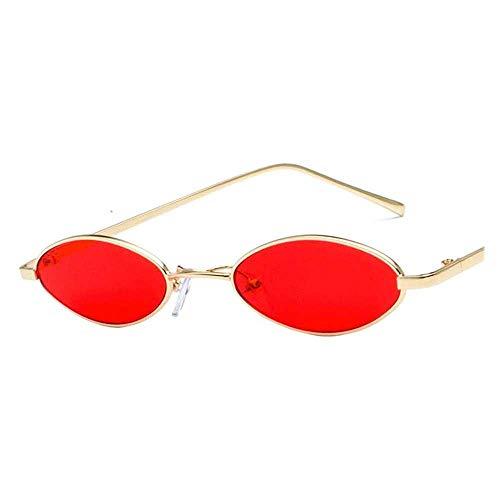 Anas Gafas de Sol Redondas de Las Mujeres de los Hombres el 90 de Steampunk del Estilo Retro tirón Encima del Círculo de Las Gafas de Sol (Color : Red)