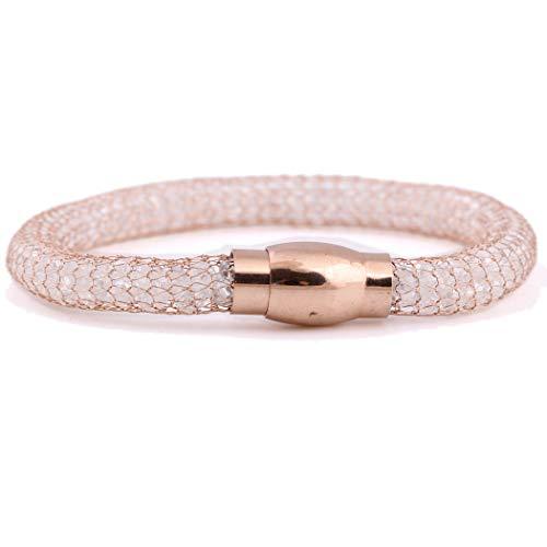 SHANGZHIQIN Hebilla magnética de Acero Inoxidable 8Mm Joyas Crystal Mesh Chain Bracelet, Fashion Luxury Ladies Bracelet Rose Gold