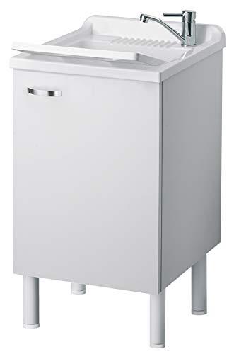 Negrari 6006SKBBA Lavadero-fregadero de madera laminada, medidas: 45 cm de largox 50 cm de anchox 84cm de alto), blanco