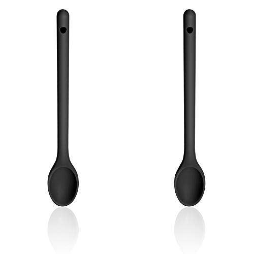 Silicone Serving Spoons for Cooking Heat-Resistant Cooking Spoons Set for Stirring, Scooping and Mixing Silicone Nonstick Spoon Set 2-Pieces, BPA Free, Long Handles UK (Black)
