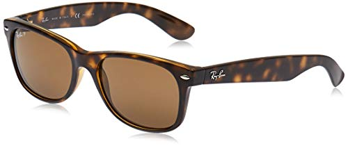 Ray-Ban unisex adult Rb2132 New Wayfarer Polarized Sunglasses, Striped Tortoise/Polarized Crystal Brown, 55 mm US