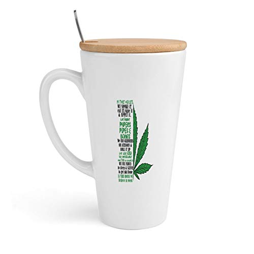 Ceramic Coffee Mug, in This We House Somke It, Eat It, Vape It & Apply It., Tea Cup with Lid & Spoon for Office and Home, 18Oz