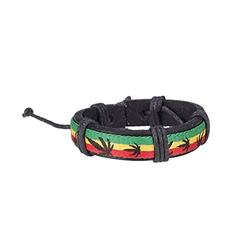 JER Chic Unisex Pulsera de Cuero del Arco Iris Pulsera del Brazalete de la Vendimia Exquisita Jamaica por Regalos del Festival (Rojo, Amarillo y Verde)