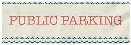 Nautical Wave Wind-Resistant Outdoor Mesh Vinyl Banner CGSignLab Public Parking 9x3