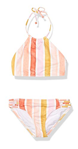 Billabong Girls' High Neck Two Piece Bikini Swim Set, Multi-Stripe, 5