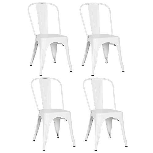 4 industrial retro metal comedor sillas moderna cocina taburete bar industrial interior exterior jardín antioxidable apilable (blanco)