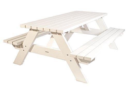 Picknicktisch weiß 220 cm, Picknickbank weiß, Trend aus Holland