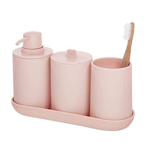 iDesign accessori bagno, Set da 4 in plastica composto da dispenser sapone, portaspazzolini, contenitore cotone e vassoio, rosa, 24,5 cm x 8,9 cm x 16,2 cm