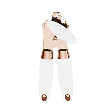 COOK with COLOR Manual Rose Gold and White Can Opener with Large Knob and Bottle Cap Opener…