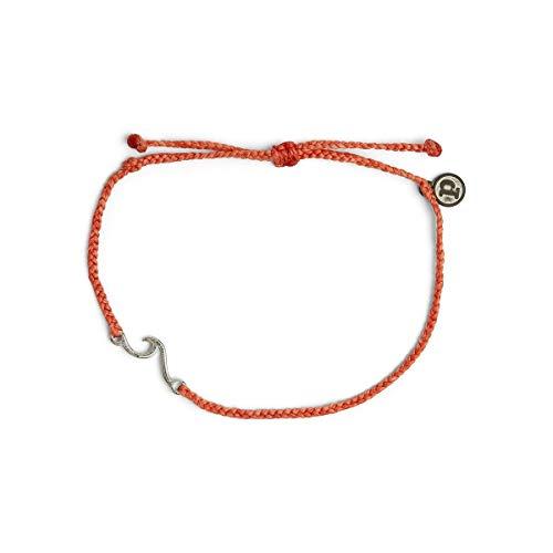 Pura Vida Silver Shoreline Anklet w/ Plated Charm - Adjustable Band, 100% Waterproof - Coral