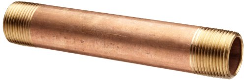 Merit Brass-2104-400 Red Brass Pipe Fitting, Nipple, Schedule 40 Seamless, 1/4' NPT Male X 4' Length