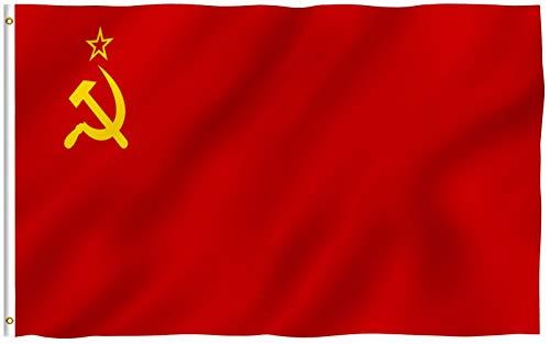 Anley Fly Breeze 3x5 Fuß Sowjetunion Flagge - Lebendige Farbe und UV-beständig - Leinwand Kopf- und Doppelnaht - Union der Sozialistischen Sowjetrepubliken Nationalflaggen mit Messingösen