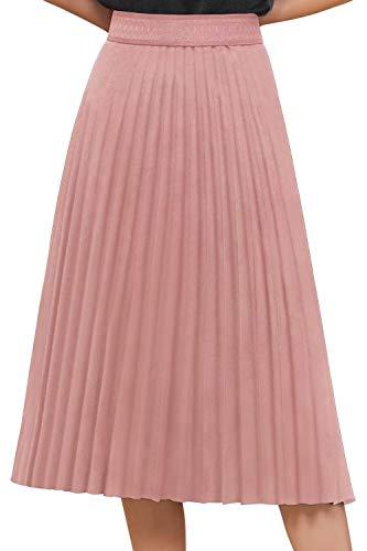 Babyonlinedress® Damen Elegant Plissee Röcke Elastischer Taillen Faltenrock Midi-Rock Einfarbig Vintage Swing Rock Rosa M