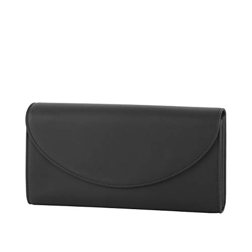 Klatta by Offermann Damen Portemonnaie aus hochwertigem Leder mit Überschlag und 16 Kartenfächern 19x10x3cm (schwarz)
