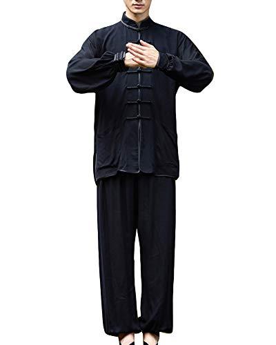 GladiolusA Herren Damen Tang Anzug Leinenhemd Chinesischen Kung Fu Tai Chi Tops Tang Anzug/Leinenhosen Herren Schwarz01 XL