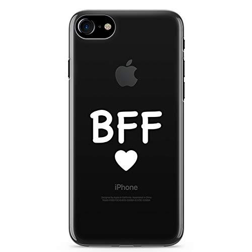 ZOKKO - Cover per iPhone 7 BFF per iPhone 7, morbida, trasparente, inchiostro bianco