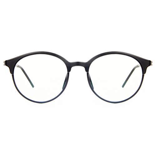 Blaulichtfilter Computer-Gläser zum Blockieren von UV-Kopfschmerz [Verringerung der Augenbelastung] Retro Brillen, Unisex (Herren/Damen) (Matt-schwarz)