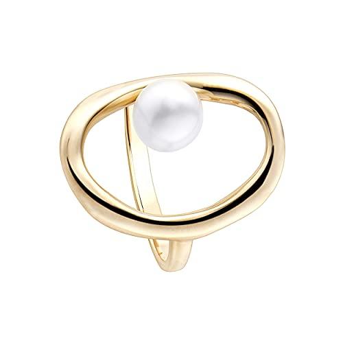 Anillo abierto oval Durán Exquse de la colección CoCo con perla desplazada realizado en plata 925 bañado en oro amarillo